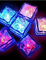 12pcs Blue / Red / Green / Pink / Yellow / RGB / Natural White Changing LED Liquid Sensor Lights Ice Cubes Shape