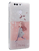 Spring Girl Cat Flowers Soft Protective Back Cover Ultra Thin Huawei Case for Huawei Ascend P9