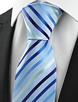 KissTies Men's Striped Light Blue Microfiber Tie Necktie For Wedding Holiday With Gift Box