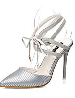Zapatos de mujer-Tacón Stiletto-Tacones / Puntiagudos / Punta Cerrada-Tacones-Casual-Semicuero-Negro / Rosa / Blanco / Gris