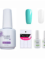 ILuve Franch Gel Nail Polish With Top And Base Coat,Pack Of 4 With Sticker,Long Lasting Soak Off UV Led Gel Varnish #07