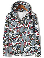 Men's Long Sleeve Casual Jacket,Polyester Print Blue / Brown / Green / Gray