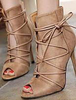 Chaussures Femme-Mariage / Habillé / Décontracté / Soirée & Evénement-Noir / Beige-Talon Aiguille-Bout Ouvert-Sandales-Synthétique