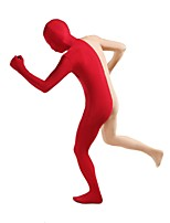Unisex Multi-Color Zentai Suits Lycra / Spandex Red Flesh-colored Stitching Zentai