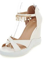Women's Shoes Wedge Heel Wedges / Ankle Strap Sandals Party & Evening / Dress / Casual Blue / Pink / White