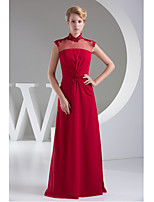 Formal Evening Dress-Fuchsia Sheath/Column Jewel Floor-length Chiffon