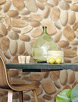 HaokHome®  Modern Faux Stone Wallpaper Roll Tan/Off White 3D Cobblestone Realistic Paper Room Decoration Wall Covering