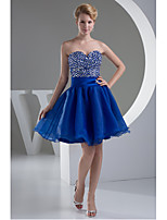 Cocktail Party Dress-Royal Blue A-line Sweetheart Short/Mini Organza