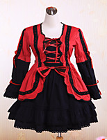 Steampunk® Cute Lace Up Dark Red And Black Cotton Gothic Lolita Dress