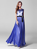 Formal Evening Dress-Ruby / Pool Ball Gown Jewel Ankle-length Lace / Tulle
