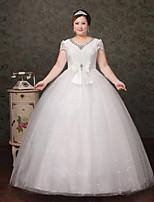 Hochzeitskleid-Weiß Spitze / Tüll-A-Linie-Bodenlänge-V-Ausschnitt