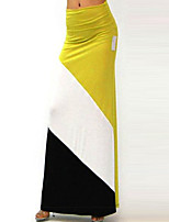 Women's Color Block Red / Yellow Skirts,Boho Maxi