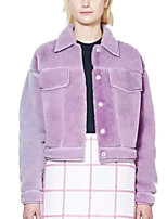 Women's Solid Pink / Purple Coat,Simple Polyester