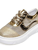 Scarpe Donna-Sneakers alla moda-Casual-Plateau / Punta arrotondata-Piatto-Finta pelle-Nero / Rosa / Argento