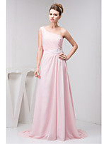 Formal Evening Dress-Blushing Pink A-line One Shoulder Court Train Chiffon