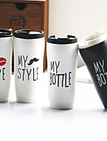 1PC 450ML Fashion Classic Beard Mybottle Plastic Cover With Glass Ceramic Cup (Random Style)