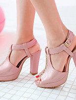 Women's Shoes Leatherette Chunky Heel Peep Toe Sandals Outdoor / Dress / Casual Black / Green / Pink / Silver / Gold