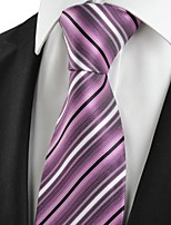 KissTies Men's Striped Purple Microfiber Tie Necktie For Wedding Party Holiday With Gift Box
