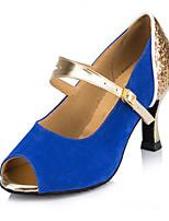 Для женщин-Замша-Персонализируемая(Синий / Фуксия) -Латина / Модерн / Сальса / Обувь для свинга