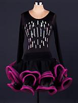 Latin Dance Dresses Women's Performance Chinlon / Organza Draped 1 Piece Black