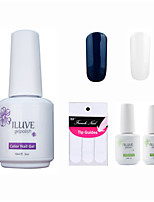 ILuve Franch Gel Nail Polish With Top And Base Coat,Pack Of 4 With Sticker,Long Lasting Soak Off UV Led Gel Varnish #10