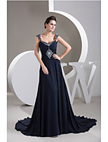 Formal Evening Dress-Dark Navy A-line Straps Chapel Train Chiffon