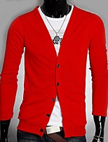 Men's Solid Cardigan,Polyester Long Sleeve