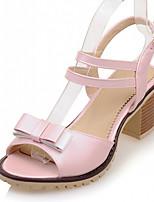 Chaussures Femme-Extérieure / Bureau & Travail / Soirée & Evénement-Bleu / Rose / Beige-Gros Talon-Bout Ouvert-Sandales-Similicuir
