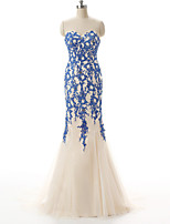 Formal Evening Dress-Ocean Blue Trumpet/Mermaid Sweetheart Floor-length Lace / Tulle / Stretch Satin