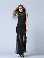 Formal Evening Dress-Black Trumpet/Mermaid High Neck Ankle-length Lace / Tulle