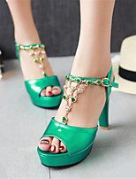 Women's Shoes Patent Leather / Tulle Chunky Heel Heels / Platform Sandals Office & Career /  Dress Blue / Green