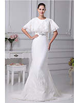 Trumpet/Mermaid Wedding Dress-Ivory Chapel Train Jewel Satin
