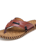 Men's Shoes Casual Leatherette Slippers / Flip-Flops Black / Brown / White