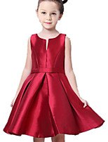 Girl's Red Dress Cotton / Polyester Summer