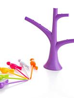 עיצוב בית צד יצירתי מתל מחזיק ציפור פרי חטיף קינוח מזלגות עץ צורת צבע אקראי