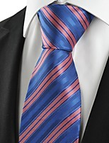 KissTies Men's Striped Rose Pink Blue Microfiber Tie Necktie For Wedding Party Holiday With Gift Box
