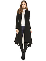 Women's Solid Black Coat,Simple Long Sleeve Acrylic / Polyester