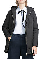 Women's Solid Black Coat,Simple Long Sleeve Cotton