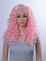 Fashion Synthetic Wigs Lace Front Wigs 24inch Curly Pink Heat Resistant Hair Wigs Women