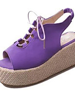 Women's Shoes Tulle / Leatherette Platform Platform / Creepers Sandals Outdoor / Casual Black / Purple