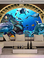 JAMMORY Art Deco Wallpaper Contemporary Wall Covering,Other Dolphins Large Mural Wallpaper