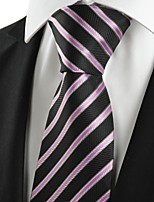 KissTies Men's New Striped Pink Black Microfiber Tie Necktie For Wedding Party Holiday With Gift Box