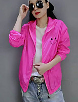 Women's Print Pink / White / Orange / Yellow Trench Coat,Simple Long Sleeve Polyester