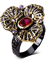 Women Big Punk Rings Amethyst &Siam Cubic Zirconia Bezel Setting 18K Gold & Black Plated Ring