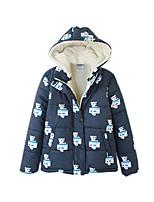 Women's Print Blue Padded Coat,Street chic Hooded Long Sleeve