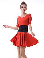 Latin Dance Dresses Women's Training Lace / Milk Fiber Lace / Pleated / Ruffles 2 Pieces Black / Red Latin Dance Half Sleeve Natural