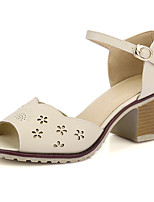 Women's Shoes  Chunky Heel Heels / Peep Toe Sandals Casual Pink / Gray / Almond
