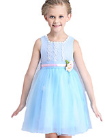 Girl's Blue / Pink Dress Polyester Summer