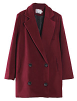 Women's Solid Red / Black Pea Coats,Simple Long Sleeve Polyester