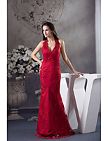 Formal Evening Dress Trumpet / Mermaid Halter Floor-length Lace / Satin with Lace